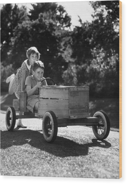 Go-carting Wood Print by Archive Photos