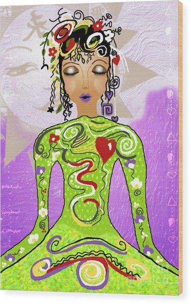 Goddess Of Yoga Wood Print by Gia Simone