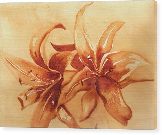 Gold Lilies Wood Print