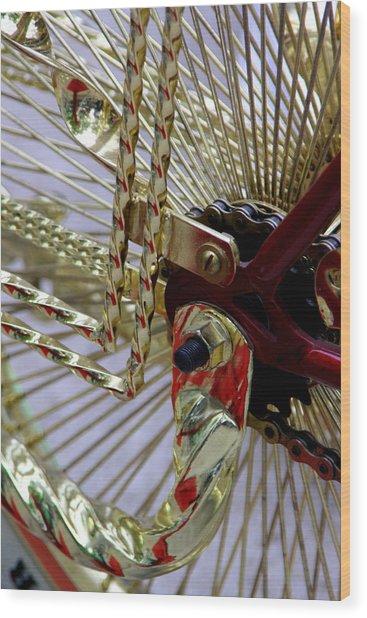 Gold Low Rider Spokes Wood Print by Tam Graff