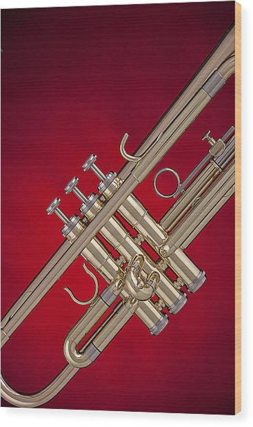 Gold Trumpet Isolated On Red Wood Print