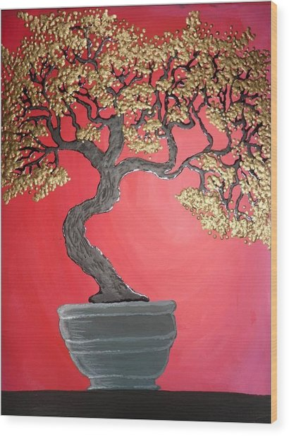 Golden Bonsai Wood Print by Silvia Louro