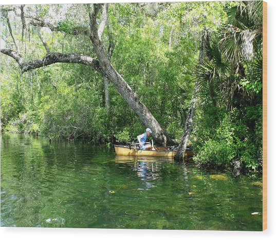 Golden Canoe Launch Wood Print