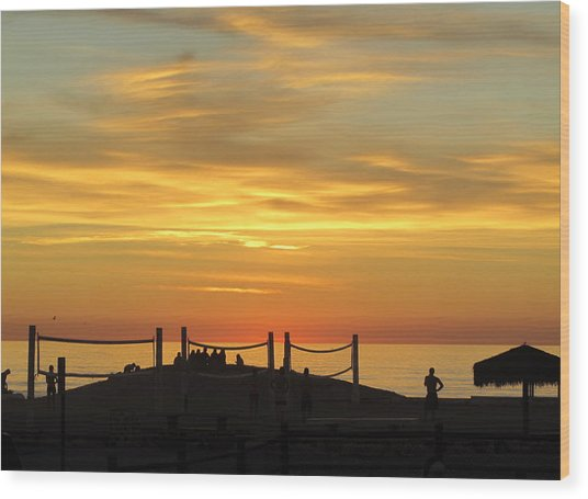 Golden Coast Sunset Wood Print