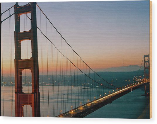 Golden Gate Blue Wood Print by Trent Mallett