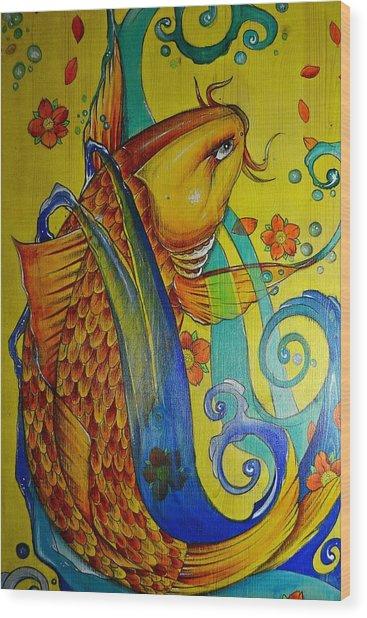 Golden Koi Wood Print