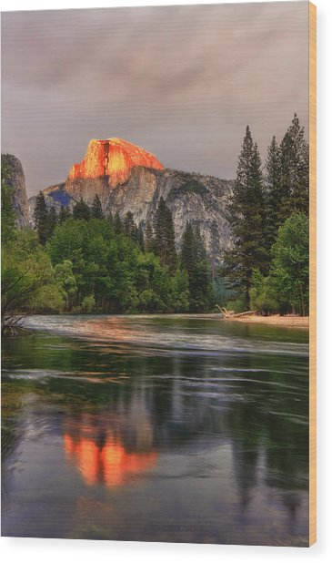 Golden Light On Halfdome Wood Print
