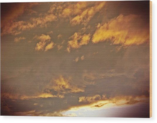 Golden Lit Sky After The Rain Wood Print by Lee Yang