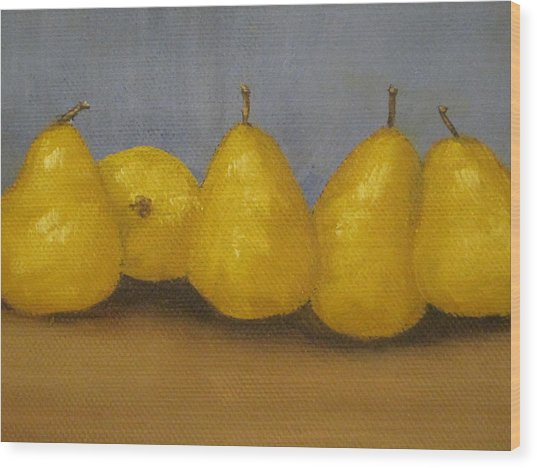 Golden Pears With Blue Wood Print