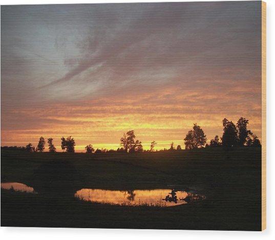 Golden Pond Wood Print by Wide Awake Arts