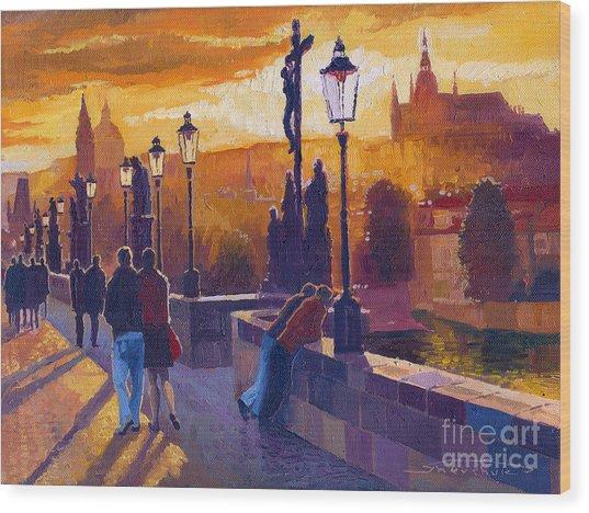 Golden Prague Charles Bridge Sunset Wood Print
