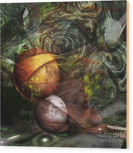 Golden Sphere Wood Print by Monroe Snook