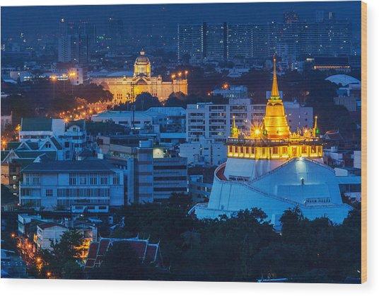 Golden Temple Bangkok Night Wood Print by Arthit Somsakul
