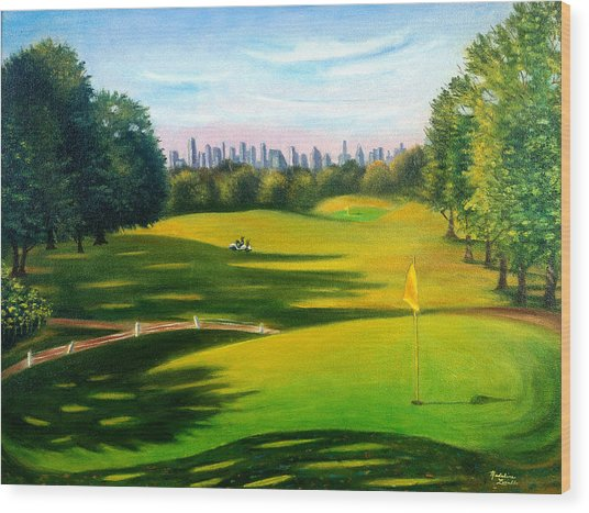Golf Course At Forest Park Wood Print