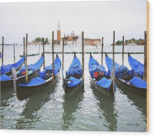 Gondolas In Venice  Wood Print by Nian Chen