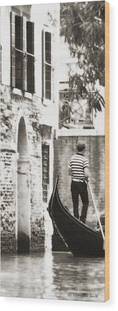 Wood Print featuring the photograph Gondolier 1 Sepia by Vicki Hone Smith