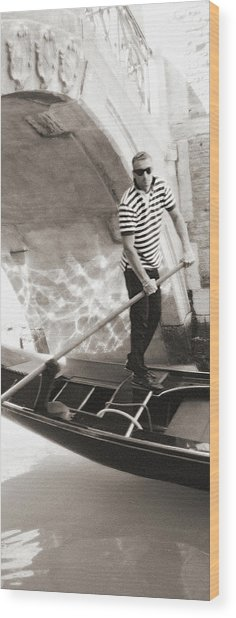 Wood Print featuring the photograph Gondolier 2 Sepia by Vicki Hone Smith