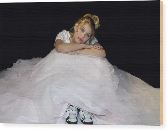 Gown And Sneakers Wood Print by Trudy Wilkerson
