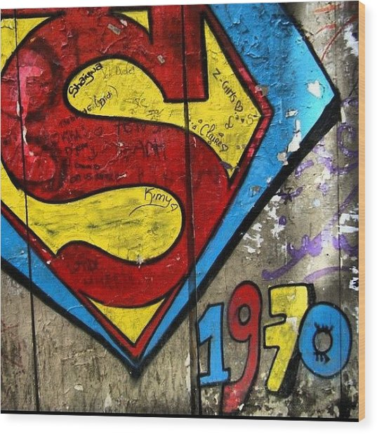 #grafetti #superman #1970 #paris Wood Print