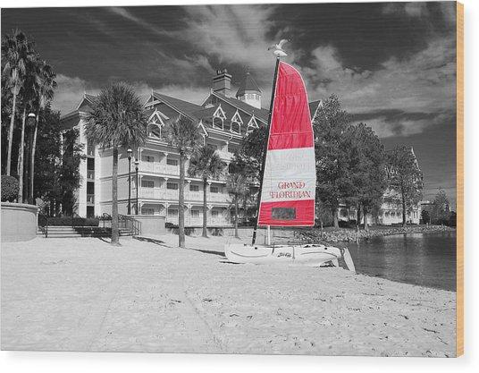Grand Floridian Resort Beach Walt Disney World Prints Color Splash Black And White Wood Print