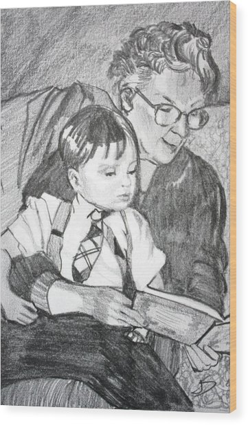 Grandma Reading Wood Print