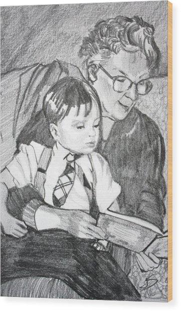 Grandma Reading Wood Print