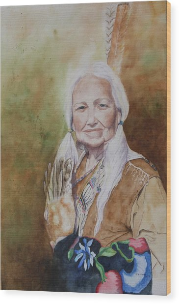Grandmother Many Horses Wood Print by Patsy Sharpe