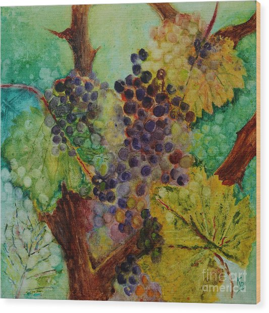 Grapes And Leaves V Wood Print