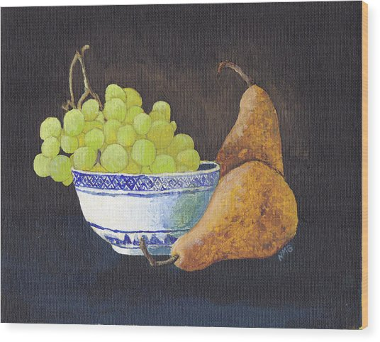 Grapes And Pears Wood Print by Nicole Grattan