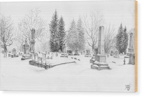 Graveyard In The Snow Wood Print