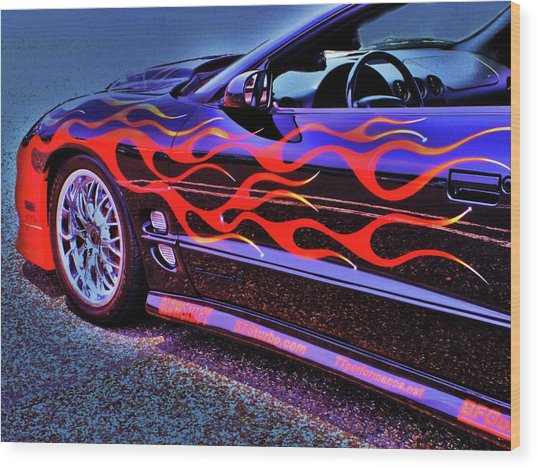 Greased Lightning Wood Print