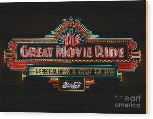 Great Movie Ride Neon Sign Hollywood Studios Walt Disney World Prints Poster Edges Wood Print