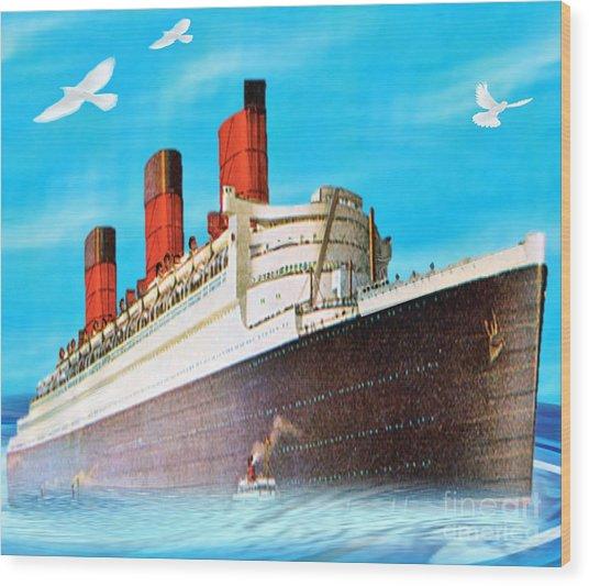Great Ocean Liner Wood Print by Belinda Threeths