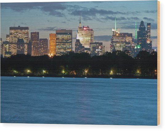 Great Pond Skyline Wood Print