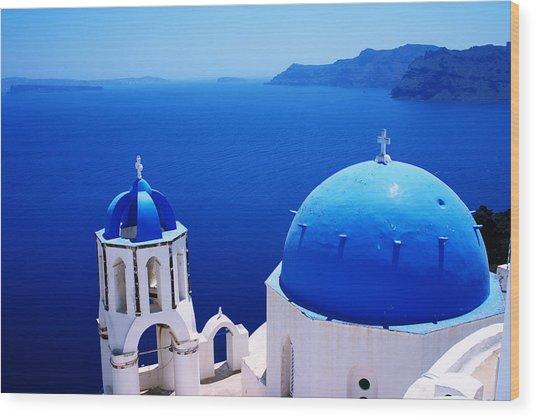 Greek Blue Wood Print