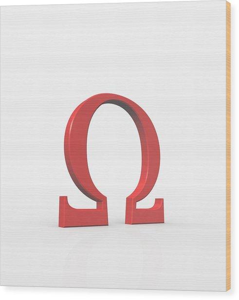 Greek Letter Omega, Upper Case Wood Print by David Parker