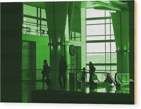 Green Airport Wood Print by Ron Morales