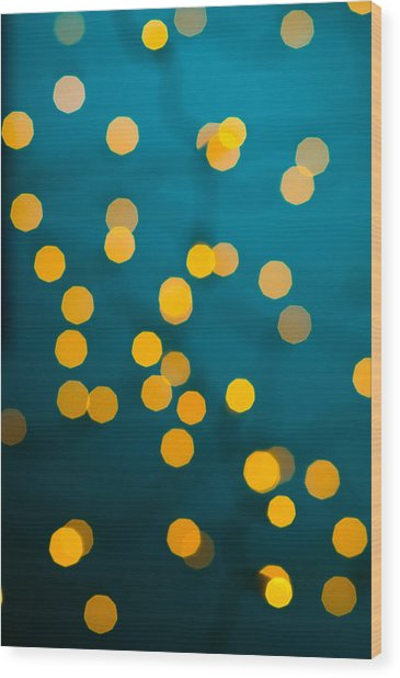 Green Background With Gold Dots  Wood Print