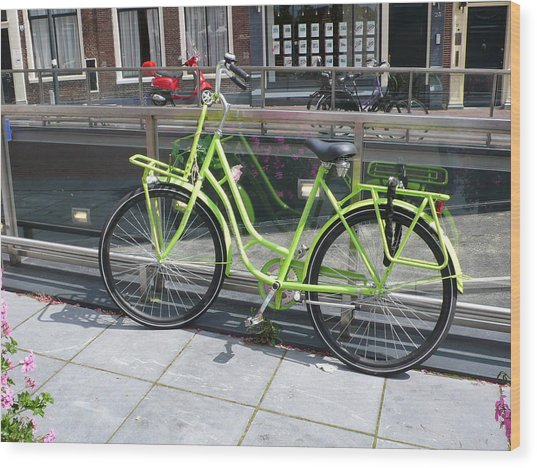 Green Bike Haarlem Holland Wood Print by Gregory Smith