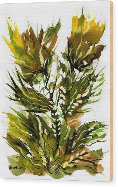 Green Flames Wood Print