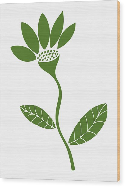 Green Flower Wood Print