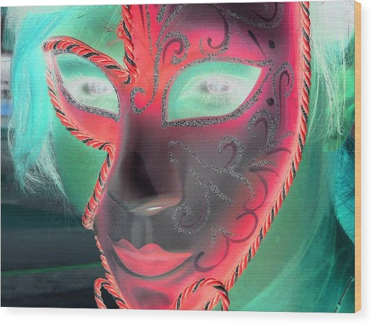 Green Girl With Red Mask Wood Print