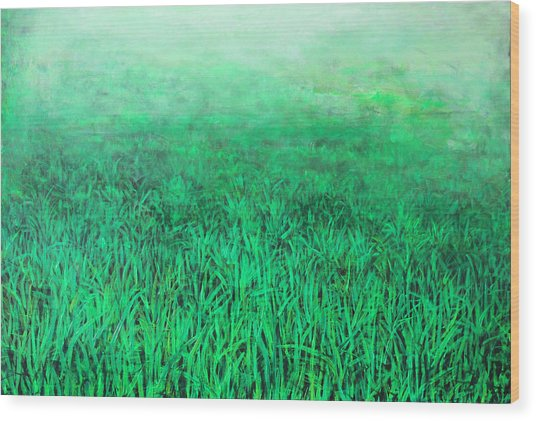 Green Grass Wood Print