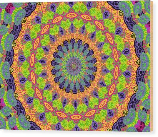 Green Kalidescope Wood Print by Rosalie Scanlon