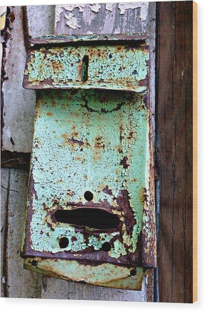 Green Mailbox Wood Print