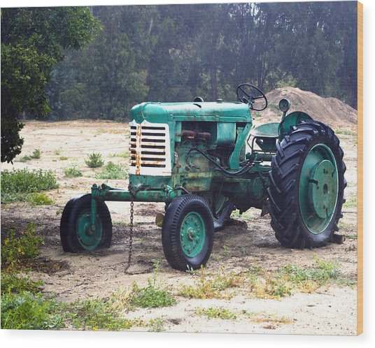 Green Oliver Tractor Wood Print