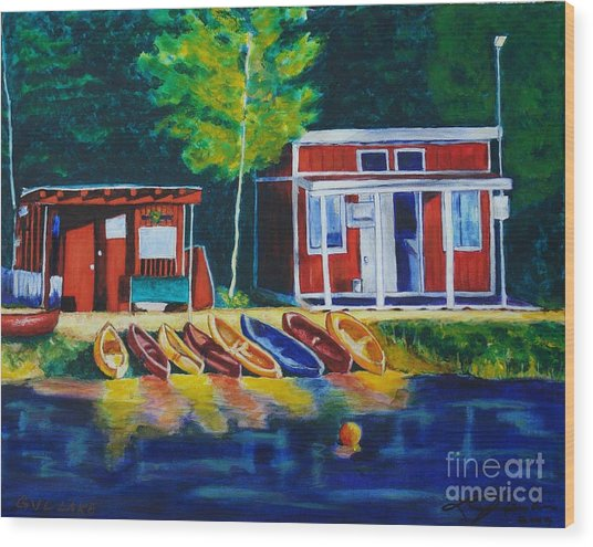 Green Valley Lake Boat House Wood Print