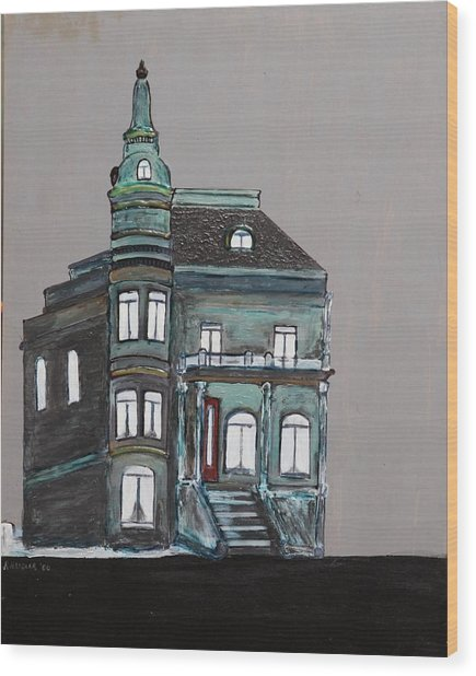 Grey Victorian Mansion-montreal Wood Print