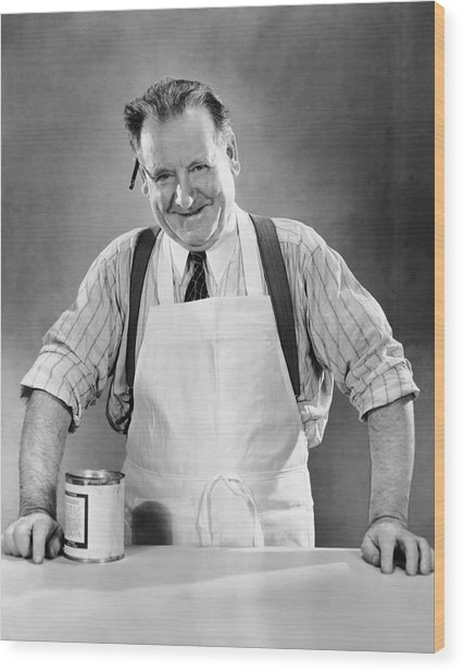 Grocery Store Salesman W/can On Counter Wood Print by George Marks