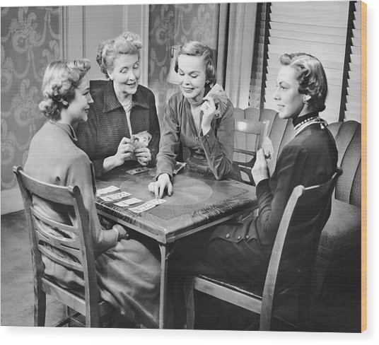 Group Of Women Playing Cards Wood Print by George Marks